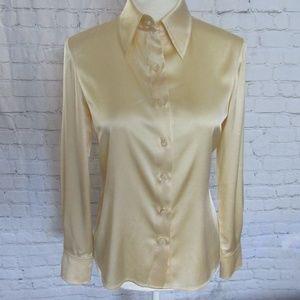 St. John Silk Beige/Cream Blouse Button Up Fab